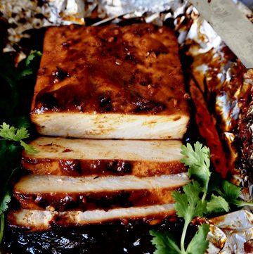 tofu marinado con cilantro