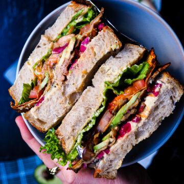 creamiest homemade hummus sandwich seen up close