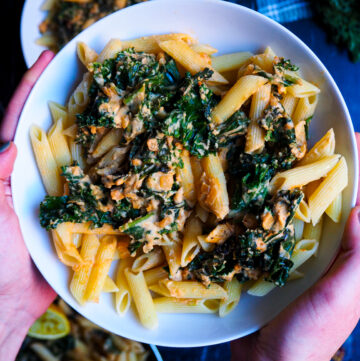a bowl of cheesy hummus pasta held by two hands seen up close